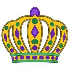 Large Mardi Gras Crown Applique Machine Embroidery Digitized Design Pattern