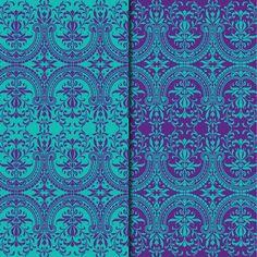 Download Digital Paper Pack Decorative Damask Purple & Turquoise Online | Gidget Designs