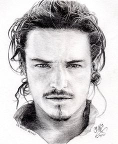 Pencil portrait of Orlando Bloom by chaseroflight @deviantART