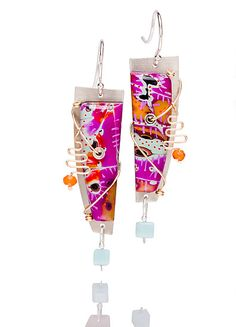 """Annabelle 70s"" - Silver & Polymer Clay Earrings created by Sue Savage"