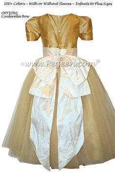 37f01f03ec Pure Gold and New Ivory Silk and Tulle Silk Style 402 Flower Girl Dresses  by Pegeen