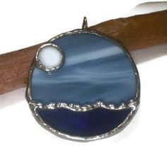 Stained Glass Jewelry Pendant Full Moon Over Water by coalchild, $25.00