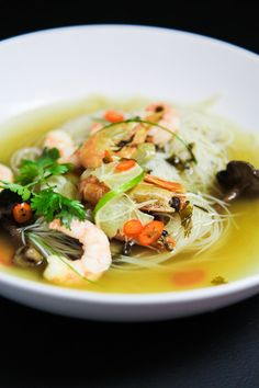 This Asian style prawn soup is slightly spicy, very refreshing and flavoursome. Prawn Soup, Asian Style, Noodles, Soups, Spicy, Berries, Glass, Ethnic Recipes, Food