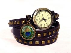 Leather watch bracelet - Peacock Eye, 0111WDBC  from EgginEgg by DaWanda.com