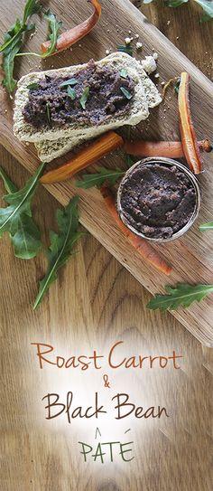 Roast Carrot & Black Bean Pate by Trinity - gluten-free vegan recipes Vegan Party Food, Healthy Vegan Snacks, Vegan Appetizers, Delicious Vegan Recipes, Vegan Food, Vegetarian Snacks, Dairy Free Recipes, Vegan Gluten Free, Whole Food Recipes
