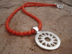 Sun Pendant Necklace with Orange Coral Beads by MakeMeSmileJewelry, $19.00