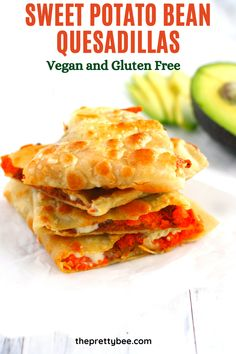 These vegan quesadillas are so easy to make and so filling! This is a restaurant style meal that your family will crave! #dinner #vegan #glutenfree #quesadilla Gluten Free Recipes For Dinner, Delicious Dinner Recipes, Beef Dishes, Food Dishes, Refried Beans, Roasted Sweet Potatoes, Quesadilla, Dairy Free, Vegan