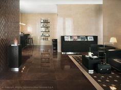 Porcelain stoneware flooring with marble effect MARVEL FLOOR DESIGN by Atlas…