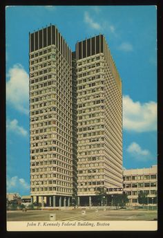 "jellobiafrasays:  ""john f. kennedy federal building, boston (postcard, c1960s)  ""  Back in college I worked in this building, part-time, when I had a clerical job at the EPA."