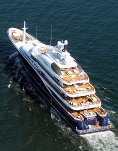 Reported to be the largest yacht (by volume) ever built in the United States, and costing $82 million, the vessel is owned by Charles Gallagher, a private equity investor from Denver.