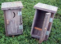 Rustic Birdhouse Designs | Rustic Barnwood 14 Inch Decorative Mini Outhouse