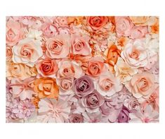 Decorate walls in this pretty pastel collage of blossoming floral. Blush and lavender, orange, white, peach and rose, all lend a hand in this happy wall mural that's as sweet as a summertime afternoon. Flower wall art will enchant any room with fresh Wallpaper Roll, Photo Wallpaper, Wall Wallpaper, Paper Flower Wall, Paper Flowers, Colorful Flowers, Pink Flowers, Photography Backdrop Paper, Photography Backgrounds