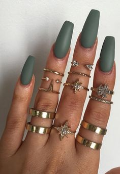 Long Coffin Nails - Matte Grace Green from Models Own   @modelsownofficial #nail #color