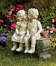 OVERSIZED BOY & GIRL ON BENCH GARDEN STATUE LAWN YARD PORCH OUTDOOR HOME DECOR