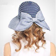 Ladies large bow split straw hat for summer blue floppy sun hats