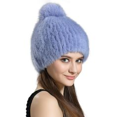 2017 New Womens Real Mink Fur Caps with Silver Fox Fur Ball Solid Knitted Fur Hats Womens Winter Real Mink Beanies LX00945
