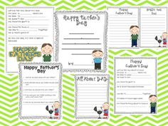 mom's and dad's day printables.  cute questionaires for the kids to fill out for their parents.  would be neat to do each year and see how the answers change :)