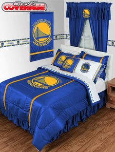 Golden State Warriors 3 Piece TWIN Comforter SET Includes 1 Twin Comforter 1 Pillow Sham 1 Pillowcase >>> Find out more about the great product at the image link. Twin Comforter Sets, Queen Bedding Sets, Queen Bedroom, Master Bedroom, Basketball Bedroom, Nba Basketball, Basketball Cupcakes, Xavier Basketball, Inspiration Design