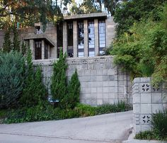 Storer House / 8161 Hollywood Blvd., Los Angeles, CA / 1923 / Mayan Revival / Frank Lloyd Wright -- The home is a re-imagining of a design Wright came up with for an Eagle Rock residence for Charles P. Lowes (it wasn't built).