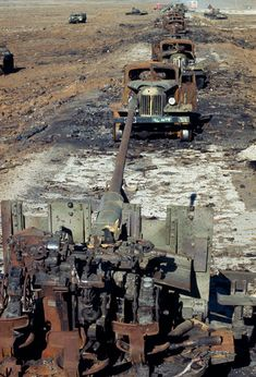 Golan Heights. 1973. Syrian vehicles destroyed by the Israeli aircraft during the Yom Kippur War. Photograph: Bruno Barbey/Magnum Photos