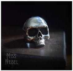 Skull sterling silver ring Yorick by MissNebel on Etsy