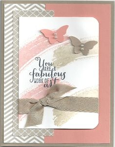 handmade card .... Work of Art  ... luv the taupes and dusty pink ... punched butterflies on watercolor stamped swooshes ... Stampin'Up!