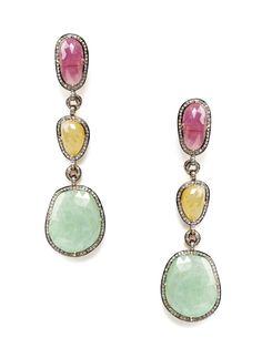 Amrapali diamond and sapphire triple drop earrings
