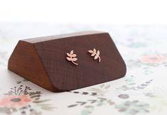 Copper Leaf Studs Floral Feminine Earrings Copper Leaf