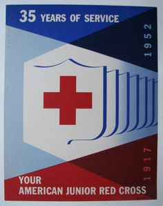 1952 Joseph Binder Junior Red Cross 35th anniversary Art Deco Vintage Advertising Poster Printed by: The American National Red Cross, Poster 609, (3-52). It has a printer's union label. This antique p