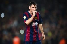 Lionel Messi of FC Barcelona celebrates after scoring his team's fourth goal during the La Liga match between FC Barcelona and Sevilla FC at Camp Nou on November 22, 2014 in Barcelona, Catalonia. Lionel Messi beat the record for number of goals in the Spanish La Liga by scoring his 252nd goal, the previous record of 251 was held by Telmo Zarra.