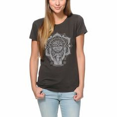 Obey Lotus Woman Black Tri-Blend Tee Shirt