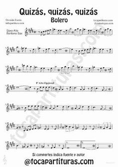 Quizás quizás quizás de Osvaldo Forrés partitura para Saxofón Alto y Barítono Música de Boleros Cello Sheet Music, Piano Sheet, Bass Clarinet, Trombone, Music Tabs, Music Notes, Piano Lessons, Guitar Lessons, Instrumental