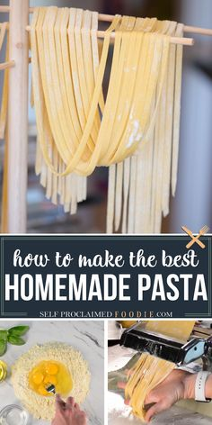 Homemade Pasta is not only fun and easy recipe to make in your own kitchen, but nothing compares to the taste and texture. Whether you want to knead and cut the dough by hand, or you use a Kitchenaid stand mixer to mix and a roller to flatten and cut, I'll share all of my homemade pasta tips & tricks! #pasta #homemade #fromscratch #howtomake #recipe #best #tips #tricks #dough #withoutmachine Yummy Pasta Recipes, Easy Homemade Recipes, Chicken Pasta Recipes, Homemade Pasta, Noodle Recipes, How To Make Homemade, Drink Recipes, Vegetarian Recipes, Dinner Recipes