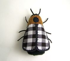 Insect Soft Sculpture in Black and White ... by SeaPinks on Etsy
