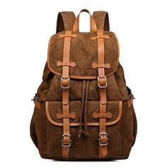 44d46c0dc3 Plambag Canvas Leather Travel Hiking Backpack 15 Laptop School Bag Coffee     This is an