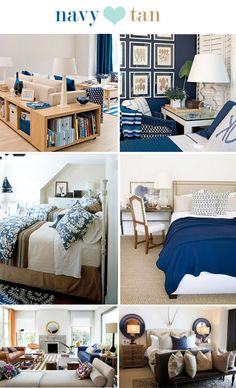 Navy and Tan for family room...little darker navy...love the shelf that goes around the back of the couch...good idea
