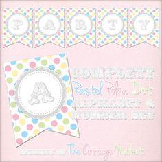 Free Printable - Whole Alphabet Pastel Party Polka Dot Banner/Bunting