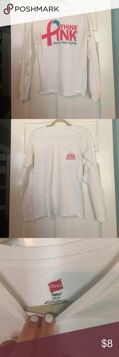 Think Pink ZTA Long Sleeve T Shirt🎀 This shirt is an heirloom and is a great addition to a big little reveal basket! No stains or tears! ZLAM Hanes Tops Tees - Long Sleeve