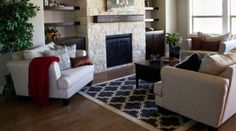 Living room from St. Jude Dream Home in Boise, ID featuring Shaw's Milazzo Area Rug in Black.