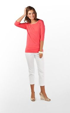 boatneck 3/4 length woman's tee