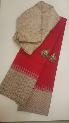 Discover thousands of images about Korvai Kanchipuram silk saree . Cotton Saree Designs, Sari Blouse Designs, Silk Cotton Sarees, Designer Blouse Patterns, Trendy Sarees, Stylish Sarees, Silk Saree Kanchipuram, Kalamkari Saree, Kanjivaram Sarees