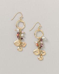 Textured flutter & bead earrings