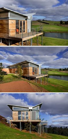 This modern Australian weekender house features a unique butterfly roof that protects it from heavy rains. Australian Architecture, Roof Architecture, Modern Architecture House, Australian Homes, Modern House Design, House Roof Design, Houses On Slopes, Butterfly Roof, Butterfly Mobile