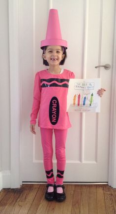 How to make a crayon shirt first find a colored shirt then print world book day pink crayon costume group idea the crayon box that quit everyone a different color solutioingenieria Choice Image