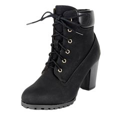 Womens Faux Leather Lace Up Rugged High Heel Ankle Boots Black -- love this. Simple pair of heeled black boots for $30