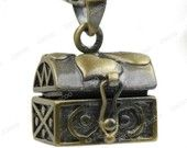 1 brass wish prayer Box locket - box style with heart pattern MB0492-4. $2.40, via Etsy.