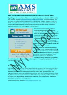 50 best press release for my pool loan images loan calculator cool swimming pools loan company for Swimming pool finance companies