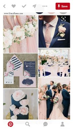 Navy and blush wedding palette. Navy and pink wedding. Navy and blush wedding cake. (How To Get Him To Propose Ideas) Navy Gray Wedding, Maroon Wedding Colors, Dusty Rose Wedding, Wedding Color Schemes, Wedding Flowers, Wedding Ideas In Blue, Navy Wedding Themes, Navy Wedding Cakes, Mens Wedding Suits Navy