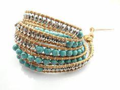2016 New 6mm blue turquoise bead Wrap bracelet new design handmade 4 Wrap leather bracelets for men and women free shipping