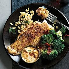 Add quick and light Sautéed Flounder and Spicy Rémoulade to your weeknight dinner rotation. Sriracha adds kick to the remoulade. Shellfish Recipes, Seafood Recipes, Dinner Recipes, Orzo Recipes, Easy Recipes, Dinner Ideas, Vegetarian Recipes, Seafood Dinner, Fish And Seafood